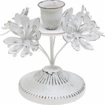 Decoración de velas, primavera, candelabro con flores, decoración de metal para la boda