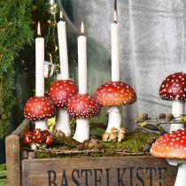 Portavelas Toadstool rojo, blanco Para 4 velas de varilla 28,5 × 17 × 16cm