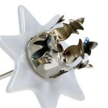 Candelabro estrella blanco-plata Ø6cm 4pcs