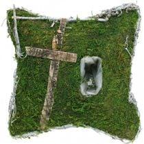 Cojín musgo y enredaderas con cruz para arreglo de tumba 25x25cm