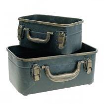 Caja de metal, jardinera, caja para plantar L30 / 22.5cm, juego de 2