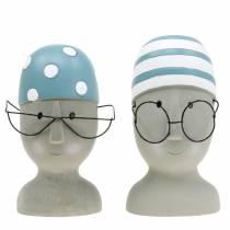 Nadador de cabeza decorativa con gafas y gorro de baño azul blanco H15cm / 16cm 2pcs