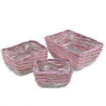 Conjunto cuadrado de cesta de 3 rosa naturaleza