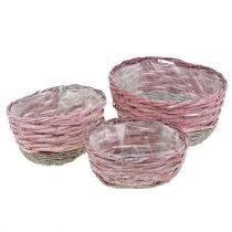 Cesta conjunto ovalado de 3 rosa, naturaleza