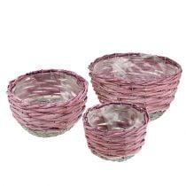 Juego de cestas redondas de 3 Ø14cm - 24cm rosa, natural