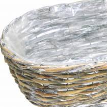 Cesta de plantación, ovalada, natural, blanco lavado 37/43 / 49cm, juego de 3