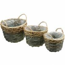 Cesta para plantas, cesta tejida para plantar, cesta de flores redonda natural, gris Ø29 / 23,5 / 18cm, juego de 3