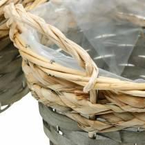 Cesta para plantas, cesta tejida para plantar, cesta de flores redonda, natural, gris Ø29 / 23,5 / 18cm, juego de 3