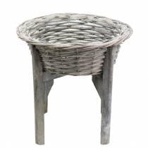 Canasta con soporte de madera gris, blanco lavado Ø33cm