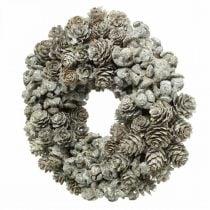 Corona decorativa conos alerce y ciprés blanco, purpurina Ø20cm 2ud