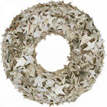 Corona decorativa estrellas corteza de abedul Corona navideña abedul Ø30cm