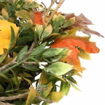 Corona de hojas otoñales artificialmente verde, amarillo, naranja Ø45cm