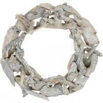 Corona raíz madera gris decoración natural corona raíz Ø40cm H9cm