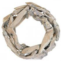 Corona de madera madera de raíz, corona de decoración encalada Ø30cm H8cm