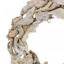 Corona de madera raíces y ramas Corona decorativa blanqueada Ø40cm H9cm