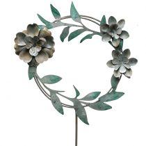 Alfiler de jardín corona de flores metal Al. 63 cm