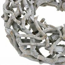 Corona decorativa, corona de madera, gris encalado, sacacorchos sauce Ø40cm