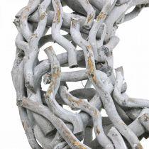 Corona decorativa madera y ramitas corona de madera gris encalada grande Ø60cm