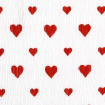Papel crepé con corazones Crepe de floristería Día de la Madre rojo, blanco 50 × 250cm