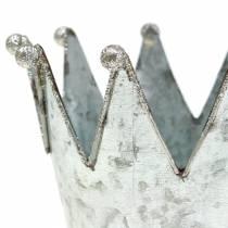 Olla decorativa corona metal plata Ø13.5cm H11.5cm 2pcs