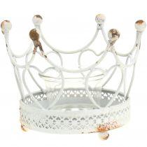 Portacandelitas corona blanco Ø13cm H9,5cm