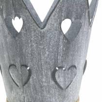 Maceta de zinc corona corazones lavado gris set Ø12 / 14cm