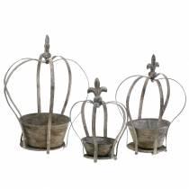 Jardinera deco corona antigua gris 3 piezas