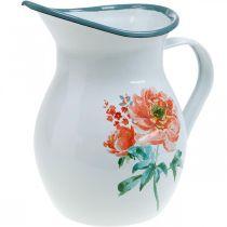 Jarra decorativa, florero estilo vintage, jarra esmaltada con motivo de rosas Al.19cm