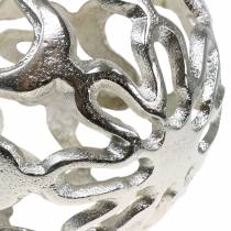 Bola decorativa calada metal plata Ø15cm