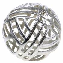 Esfera decorativa perforada metal plata Ø20cm