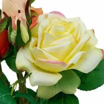 Flores artificiales, ramo de rosas, decoraciones de mesa, flores de seda, rosas artificiales amarillo-naranja