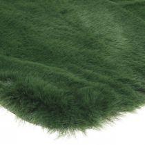 Alfombra de pelo decorativa piel sintética verde 55 × 38cm