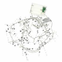 Cadena de luz LED perla guirnalda plata blanco cálido L120cm