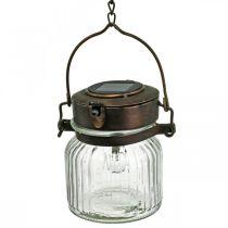 Linterna LED, lámpara colgante, luz solar en el cristal Ø11cm H14cm