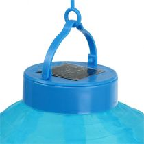 Lampion LED con solar 20cm azul