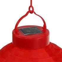 Lampion LED con solar 20cm rojo
