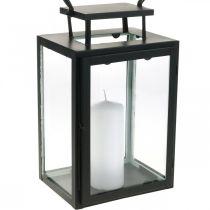 Farol decorativo de metal negro, farol rectangular de cristal 19x15x30.5cm