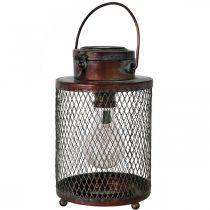 Farol de metal, lámpara solar, LED, óptica antigua Ø13.5cm H28.5cm