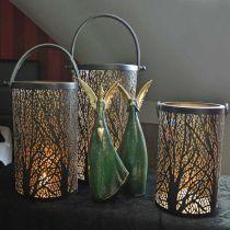 Farol de metal, farol con árbol, decoración otoñal, negro, dorado Ø20 / 19 / 14cm H23.5 / 17 / 12.5cm