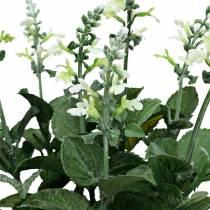 Maceta de lavanda artificial, lavanda decorativa, flor de seda en blanco