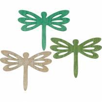 Libélulas para esparcir, decoración veraniega de madera, decoración de mesa verde 48pcs