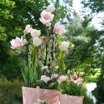 Magnolia rama rosa magnolia artificial flores de seda