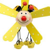 Campanas de viento mariquita madera amarillo 12cm