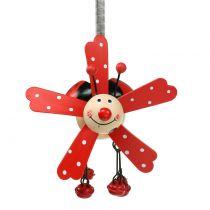 Campanas de viento mariquita madera rojo 12cm