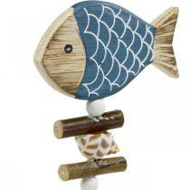 Tapones decorativos marítimos, peces y conchas en el palo, decoraciones marinas, peces de madera 6pcs