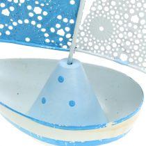 Velero de metal azul, blanco 12,5cm x 20,5cm 2pcs
