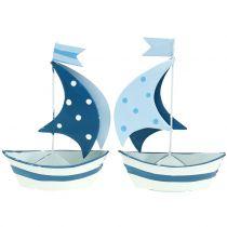 Deco velero metal azul, blanco 9,5cm x 13cm 2pcs