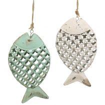 Decoración para colgar Fish Verde / Blanco 17cm 2pcs
