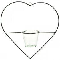 Portavelas con forma de corazón de metal 38cm para colgar con cristal