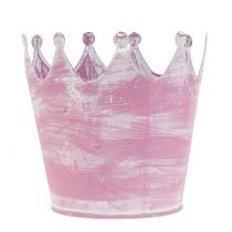 Corona de metal rosa lavado blanco Ø10cm H9cm 6pcs
